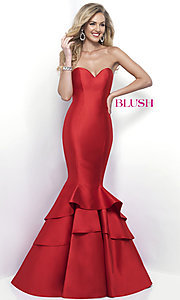 Image of Blush strapless mermaid formal long prom dress. Style: BL-11320 Front Image