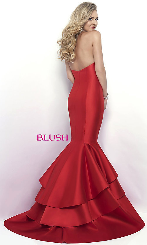 Image of Blush strapless mermaid formal long prom dress. Style: BL-11320 Back Image