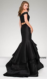 Image of two-piece Jovani long prom dress with mermaid skirt. Style: JO-46866 Back Image