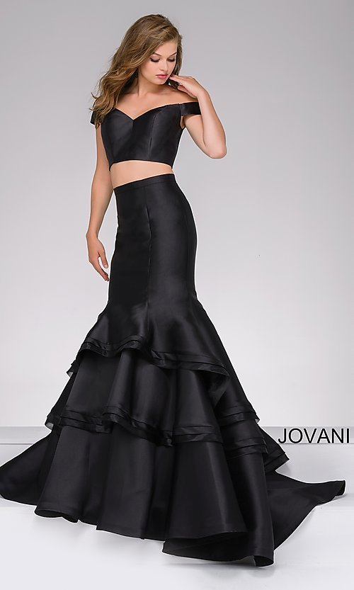Image of two-piece Jovani long prom dress with mermaid skirt. Style: JO-46866 Detail Image 1