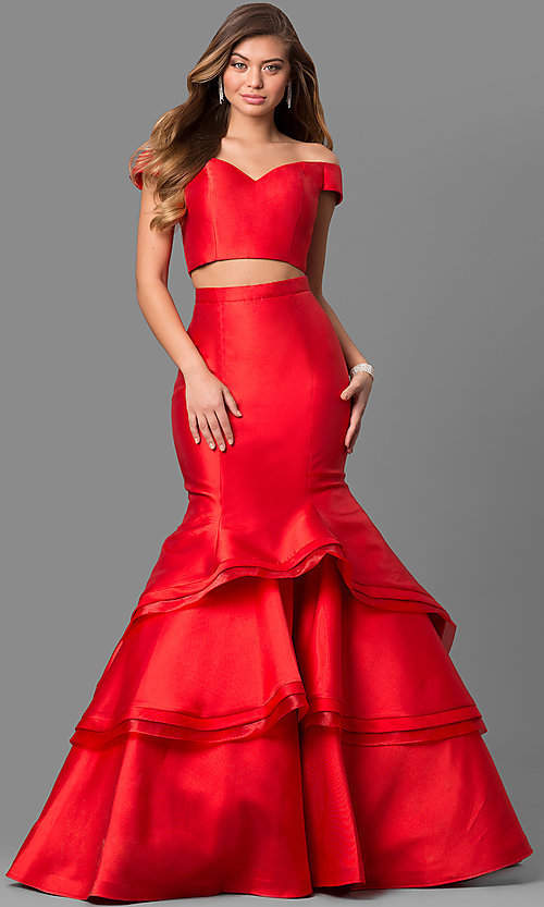 Image of two-piece Jovani long prom dress with mermaid skirt. Style: JO-46866 Front Image