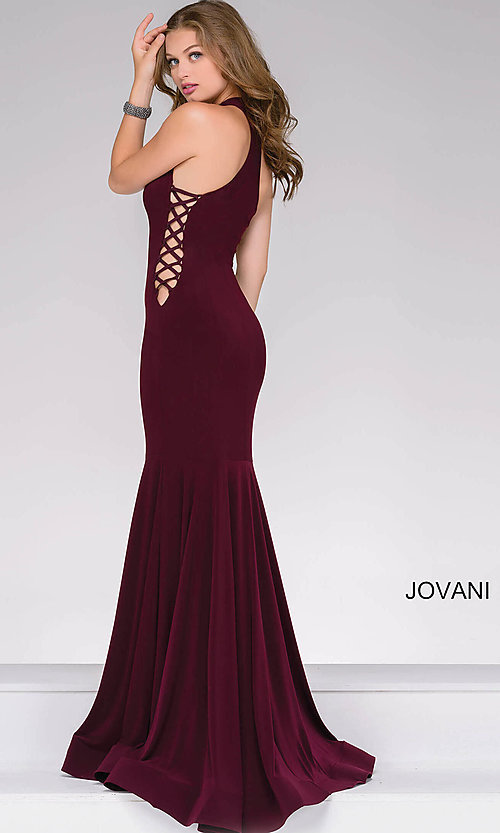 High-Neck Mermaid Long Prom Dress with Lace-Up Sides