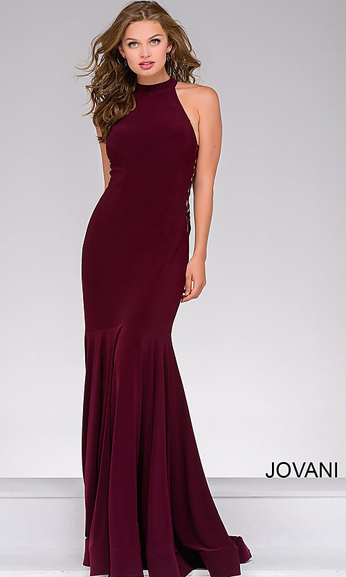 63325336fa47 Image of Jovani long mermaid prom dress with lace-up sides. Style: JO
