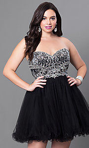 Image of plus-size strapless homecoming dress with corset. Style: DQ-9536P Front Image