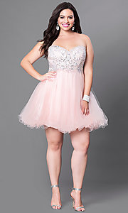 Image of plus-size strapless homecoming dress with corset. Style: DQ-9536P Detail Image 2