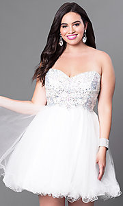 Image of plus-size strapless homecoming dress with corset. Style: DQ-9536P Detail Image 3