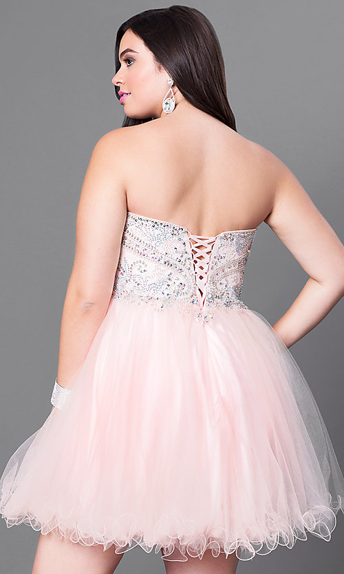 Image of plus-size strapless homecoming dress with corset. Style: DQ-9536P Back Image