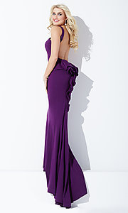 Image of high-neck open-back long prom dress with bustle. Style: JO-JVN-JVN21899 Detail Image 2
