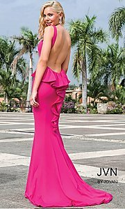 Image of high-neck open-back long prom dress with bustle. Style: JO-JVN-JVN21899 Detail Image 3