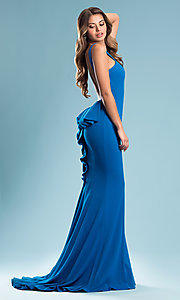 Image of high-neck open-back long prom dress with bustle. Style: JO-JVN-JVN21899 Detail Image 1