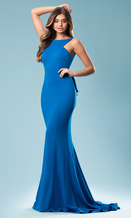 Image of high-neck open-back long prom dress with bustle. Style: JO-JVN-JVN21899 Front Image