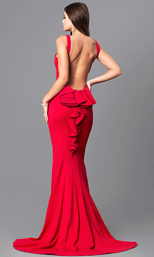 Image of high-neck open-back long prom dress with bustle. Style: JO-JVN-JVN21899 Back Image