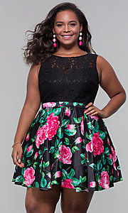 Image of short lace-bodice plus-size floral-print dress.  Style: DQ-9517P Front Image
