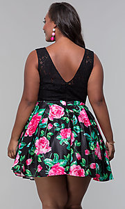 Image of short lace-bodice plus-size floral-print dress.  Style: DQ-9517P Back Image