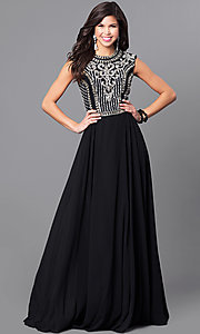 Image of JVNX by Jovani long black prom dress with jewels. Style: JO-JVNX113 Front Image