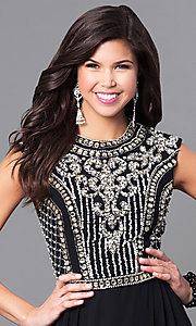Image of JVNX by Jovani long black prom dress with jewels. Style: JO-JVNX113 Detail Image 1