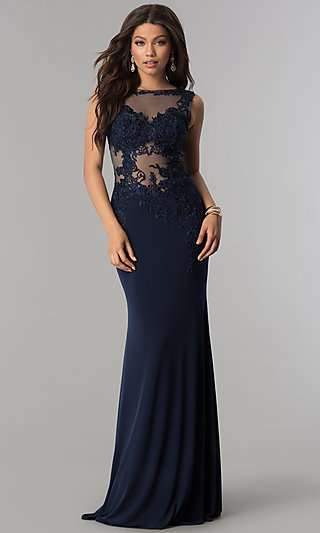 JVNX by Jovani Long Military Ball Gown with Lace