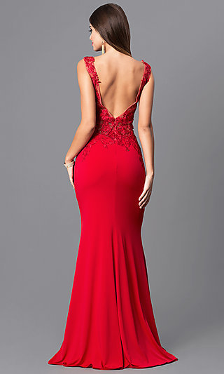 Long Red JVNX by Jovani Sequined-Lace Prom Dress