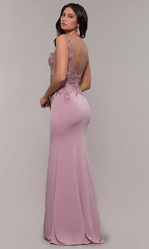 Image of JVNX by Jovani long military ball gown with lace. Style: JO-JVNX103 Back Image