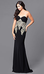 Image of long black strapless JVNX by Jovani prom dress. Style: JO-JVNX121 Back Image