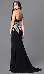 Image of long black strapless JVNX by Jovani prom dress. Style: JO-JVNX121 Front Image