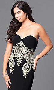 Image of long black strapless JVNX by Jovani prom dress. Style: JO-JVNX121 Detail Image 1