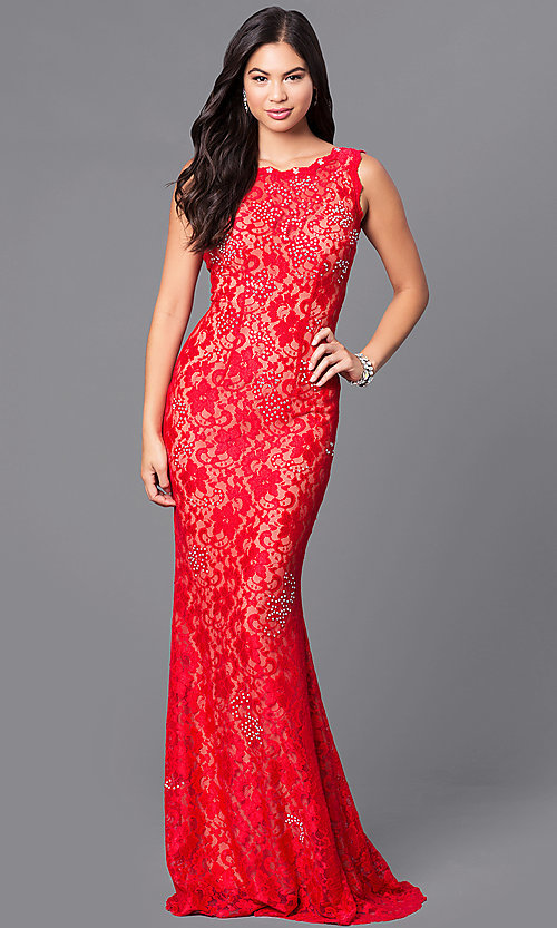 Jvnx By Jovani Lace Red Prom Dress With Sequins