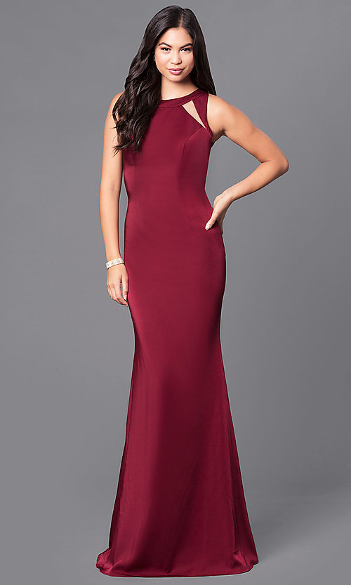 Image of wine red long satin prom dress by JVNX by Jovani.  Style: JO-JVNX48837 Back Image