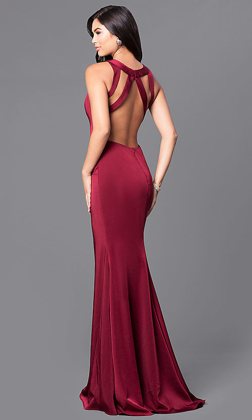 Image of wine red long satin prom dress by JVNX by Jovani.  Style: JO-JVNX48837 Front Image
