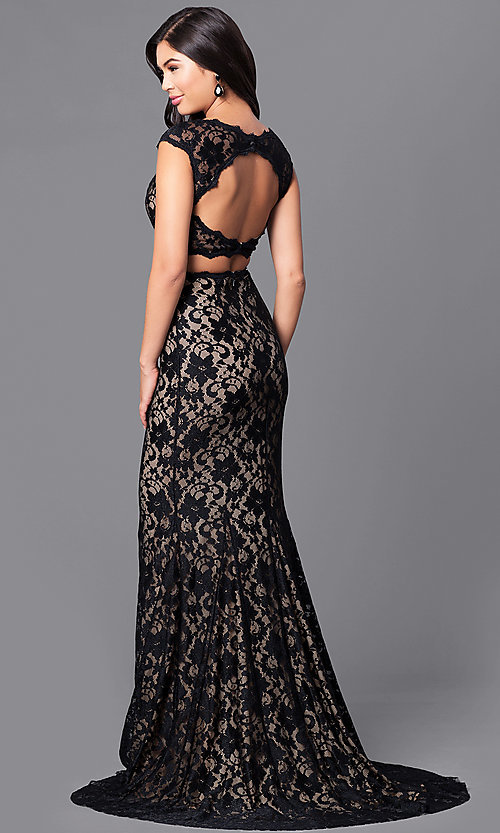 Long Lace Two-Piece Prom Dress in Black and Nude