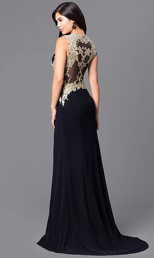 Black and Gold Lace Long Formal V-Neck Prom Dress