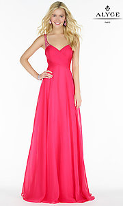 Image of open-back Alyce ruched v-neck chiffon prom dress.  Style: AL-8023 Detail Image 3