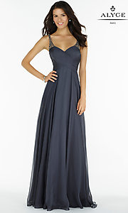 Image of open-back Alyce ruched v-neck chiffon prom dress.  Style: AL-8023 Detail Image 1