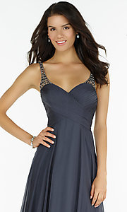 Image of open-back Alyce ruched v-neck chiffon prom dress.  Style: AL-8023 Detail Image 2