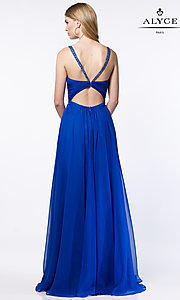 Image of open-back Alyce ruched v-neck chiffon prom dress.  Style: AL-8023 Back Image