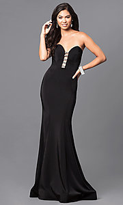 Image of black long strapless prom dress with rhinestones. Style: MF-E2102 Front Image