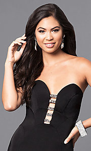 Image of black long strapless prom dress with rhinestones. Style: MF-E2102 Detail Image 1