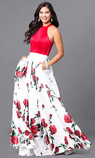 Formal Long Red Prom Dress with Floral-Print Skirt