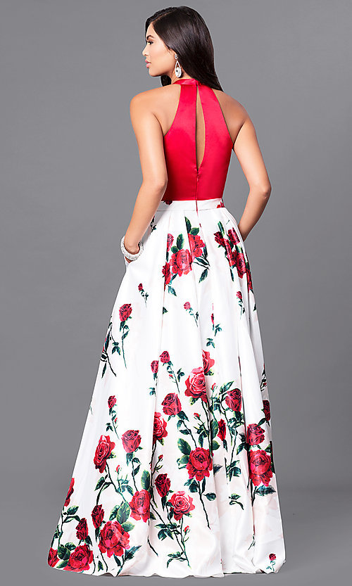 Long formal red prom dress with floral print skirt image of formal long red prom dress with floral print skirt style mf mightylinksfo