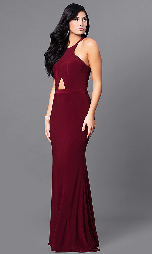 Image of cut-out sleeveless wine red racerback prom dress. Style: MF-E2101 Front Image