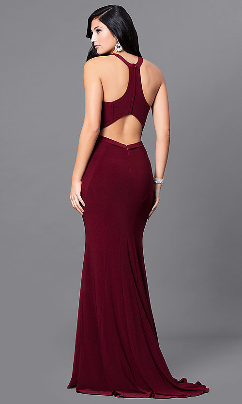 Image of cut-out sleeveless wine red racerback prom dress. Style: MF-E2101 Back Image