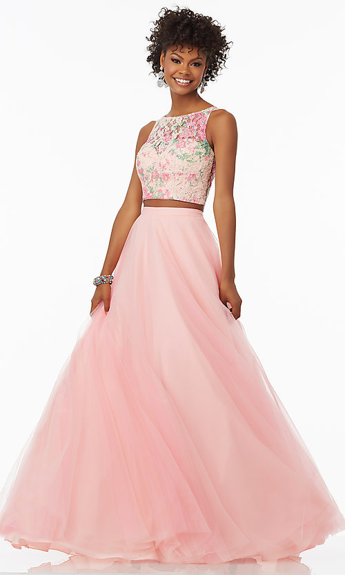 Two-Piece Rosette Pink Mori Lee Prom Dress