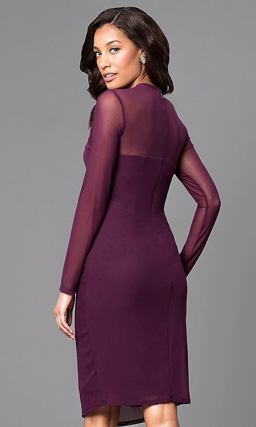 Image of knee-length party dress with illusion long sleeves. Style: JU-MA-263147 Back Image