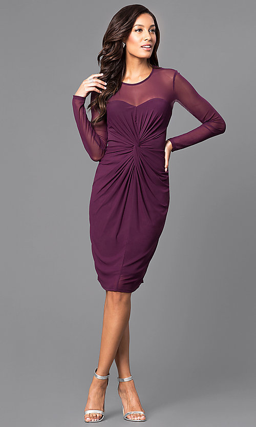 Image of knee-length party dress with illusion long sleeves. Style: JU-MA-263147 Detail Image 1