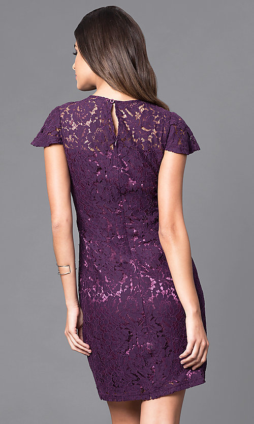 Image of lace semi-formal short flutter-sleeve dress.  Style: AM-2543U421 Back Image