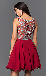 Image of illusion-back short party dress with beaded bodice. Style: DQ-9523b Back Image
