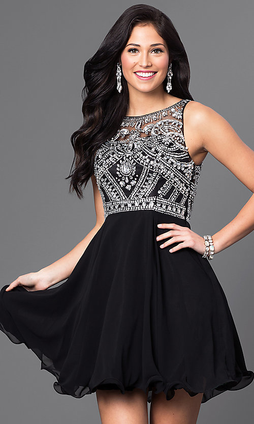 Image of illusion-back short party dress with beaded bodice. Style: DQ-9523b Detail Image 1