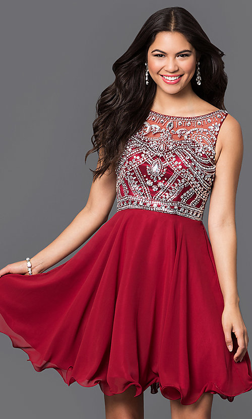 Image of illusion-back short party dress with beaded bodice. Style: DQ-9523b Front Image