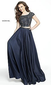 Image of two-piece Sherri Hill long prom dress with beaded top. Style: SH-50802 Detail Image 3