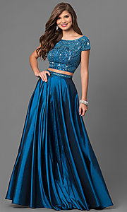 Image of two-piece Sherri Hill long prom dress with beaded top. Style: SH-50802 Detail Image 2